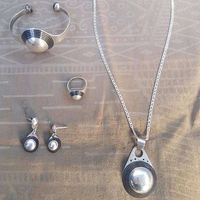 Tuareg Silver Jewelry Set 4 Pcs Necklace Ring Bracelet Earrings Berber Wedding