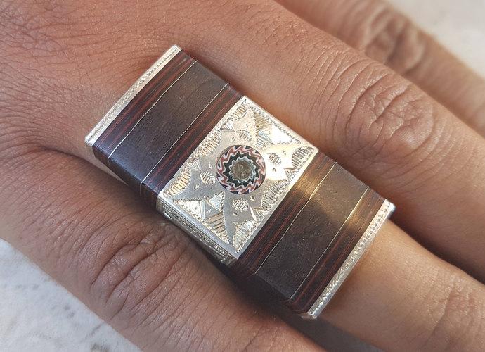 Tuareg Silver Ring Chevron Bead Ebony Wood North African Tribal Handmade Ethnic