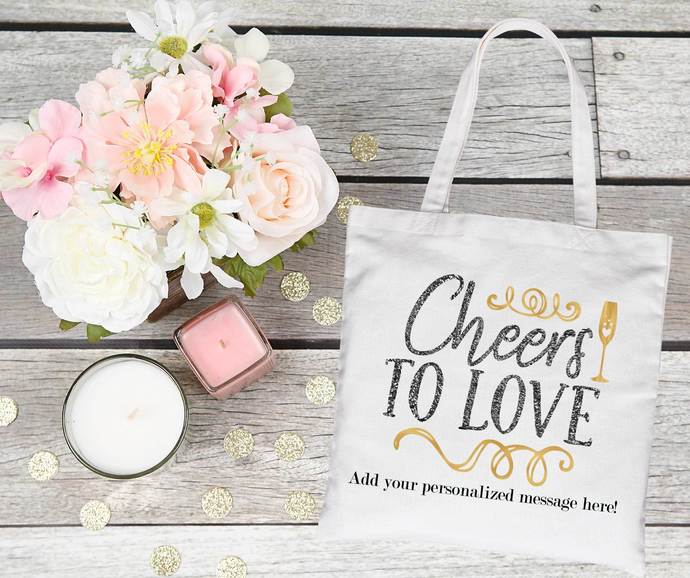 Cheers to Love, Custom Bachelorette Party Tote Bag, Bridesmaid Gifts,