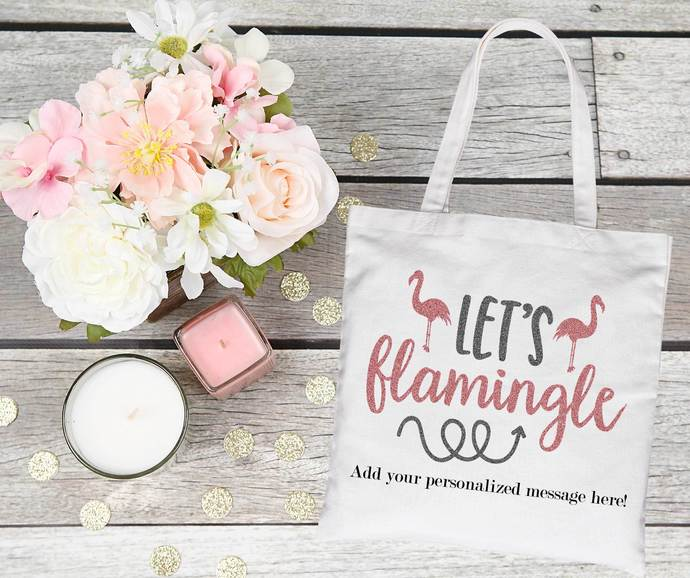 Lets Flamingle, Custom Bachelorette Party Totes, Will you be my Bridesmaid