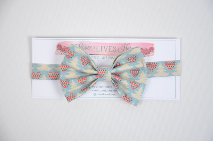 Little Guy Bow Tie - Cross Stitched Hearts with Trees