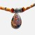 Brown Beaded Necklace of Agate Barrel Beads, Sterling oval pendant, Lacy