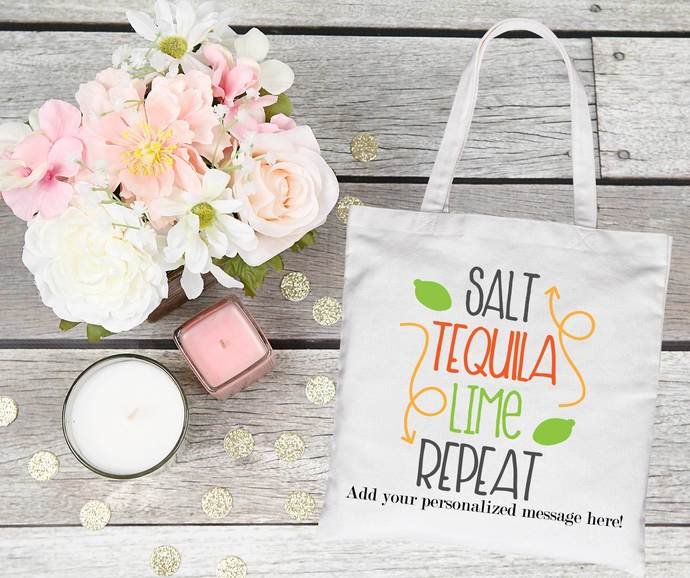 Salt Tequila Lime Repeat, Mexico Bachelorette Party bag, Mexico, mexico swag bag