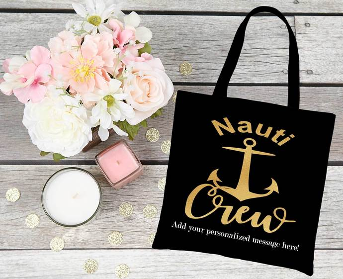 Nautical Bridal Party Tote Bags, Lets get Nauti, Anchor, last sail before the