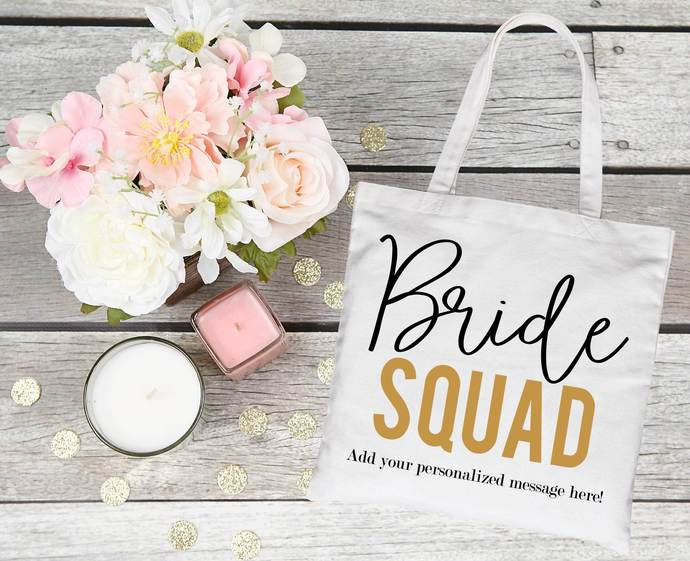Bride Squad tote bag, customizable bachelorette party favor, bridal party gift