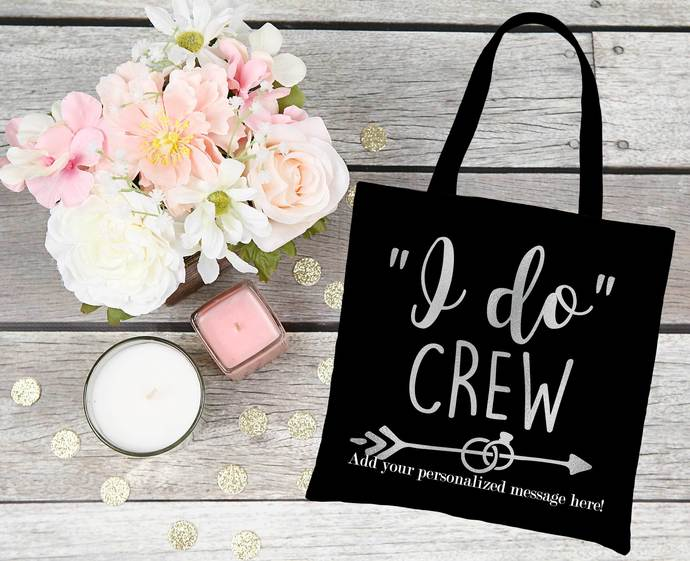 I do Crew Custom tote bag, canvas party favor bags, bridemaid gift bags, bridal