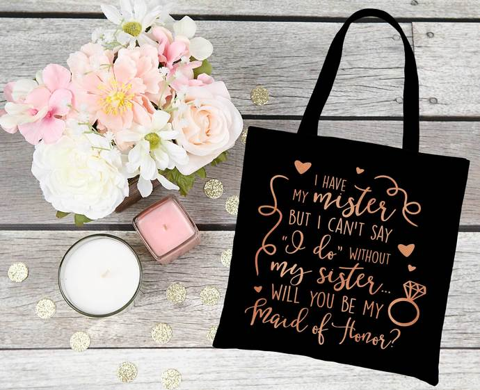 Will you be my Maid of Honor Custom tote bag, personalize bridal party gifts