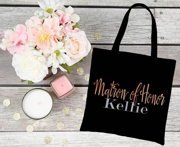 Matron Of Honor Tote bag with custom name, Matron of honor gifts, bridal party
