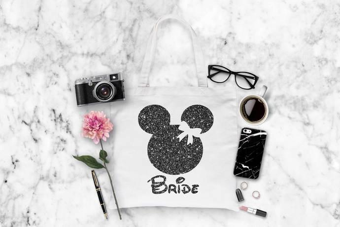 Disney Inspired Bride Tote Bag, Fantasy themed totes, Disney Bride bag