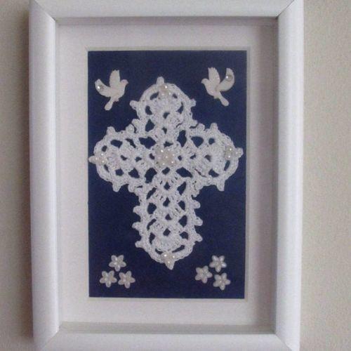 Gift handmade Crochet Cross Shadow Box Art Wall Decor