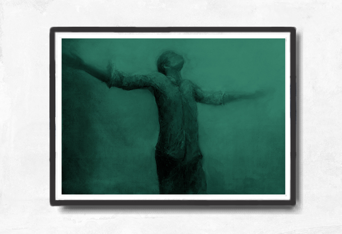 Instant download, large digital print, emerald green, man, home decor, dreamy