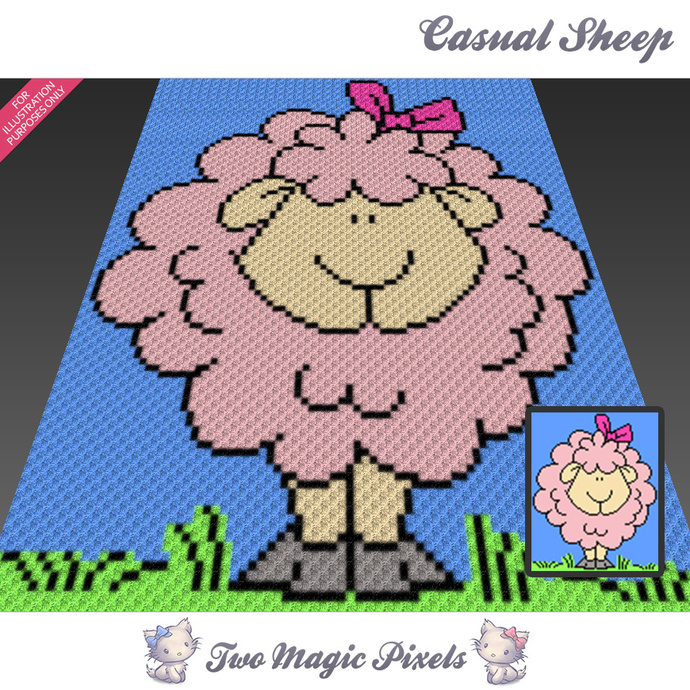 Casual Sheep crochet blanket pattern; c2c, cross stitch; graph; pdf download; no