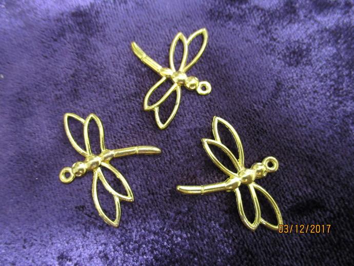 3 x Brass Dragonfly