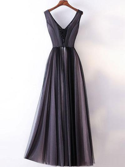 Simple A-line Gown V-neck Dark Grey Simple Long Prom Dresses 2018 Cheap Prom