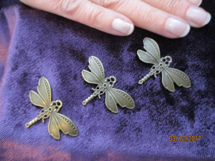 3 x Bronze Dragonfly Pendants