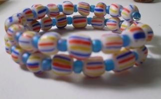 White Striped Beaded Memory Wire Bracelet