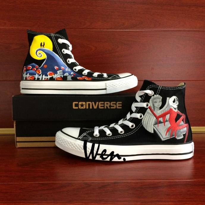 efdb9e38f99d Men Women All Star Shoes Custom Design Nightmare Before Christmas Hand  Painted