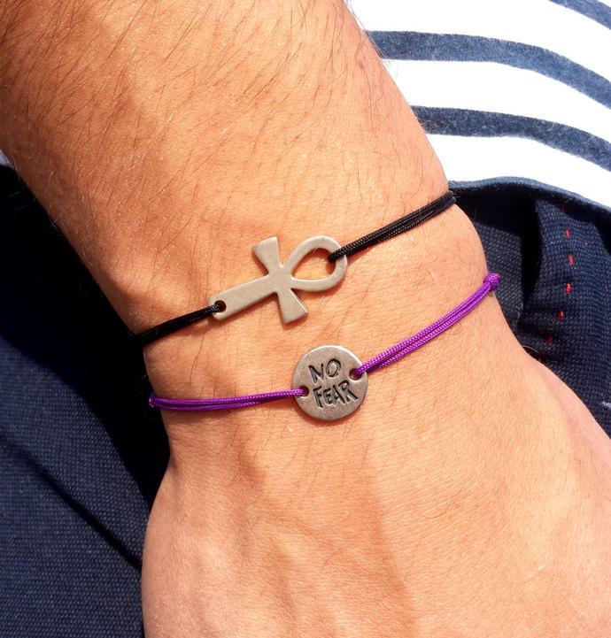 Sterling Silver Ankh Bracelet - adjustable cord bracelet, egyptian symbol  Crux Ansata, men's, unisex bracelet, unisex