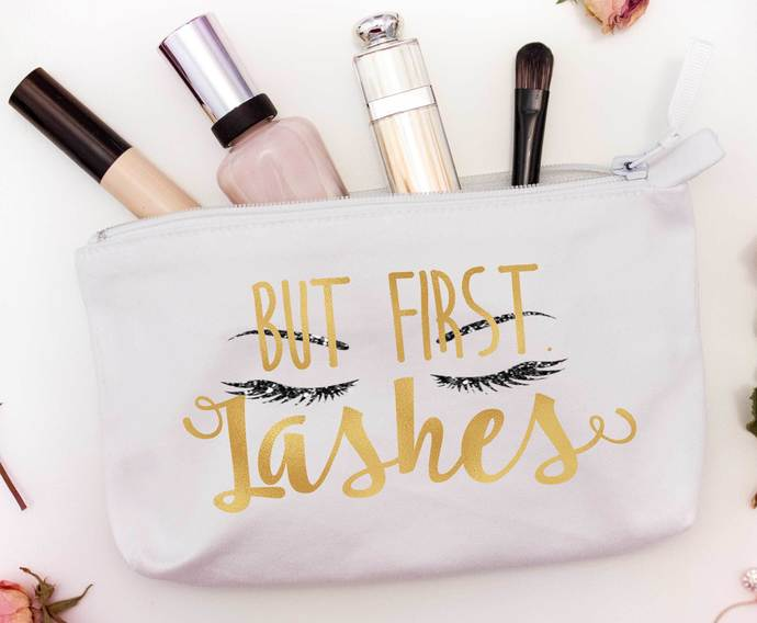 But first Lashes, Custom makeup pouch