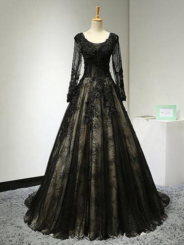 Black Lace Ball Gown Elegant 2018 Prom Dresses,Prom Dresses,Formal Women
