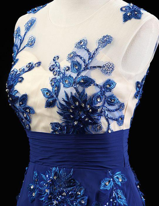 Appliques Royal Blue Elegant 2018 Prom Dresses,Prom Dresses,Formal Women