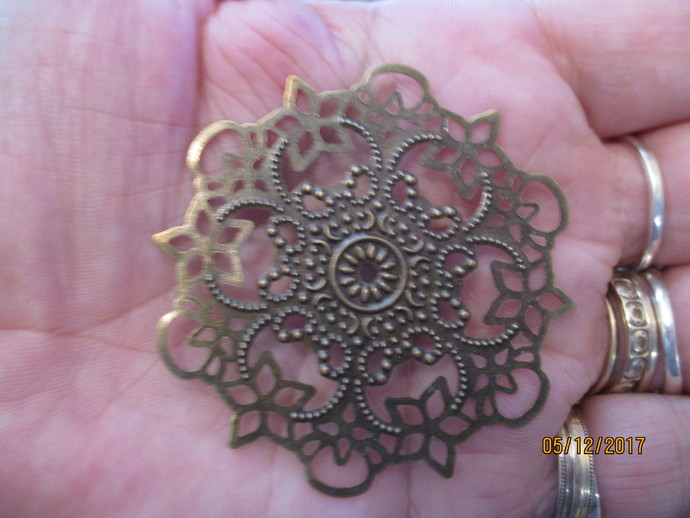 1 x Large Bronze Filigree Plate