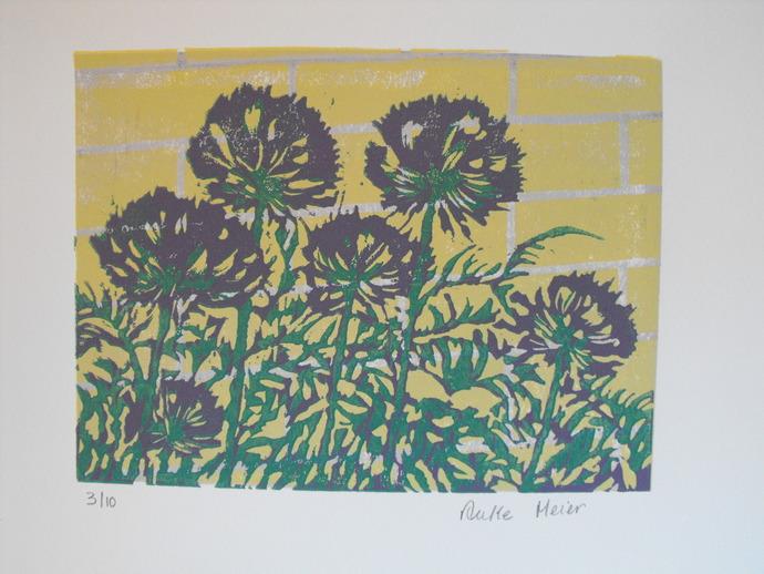Original 4 colour linocut block print on white by AM Designs on Zibbet