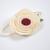 Felt Flower on Nylon Headband - Cream with Burgandy Center