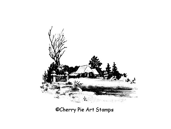 Lake house with snow- winters cape CLING STAMP- Rubber stamp by Cherry Pie L361