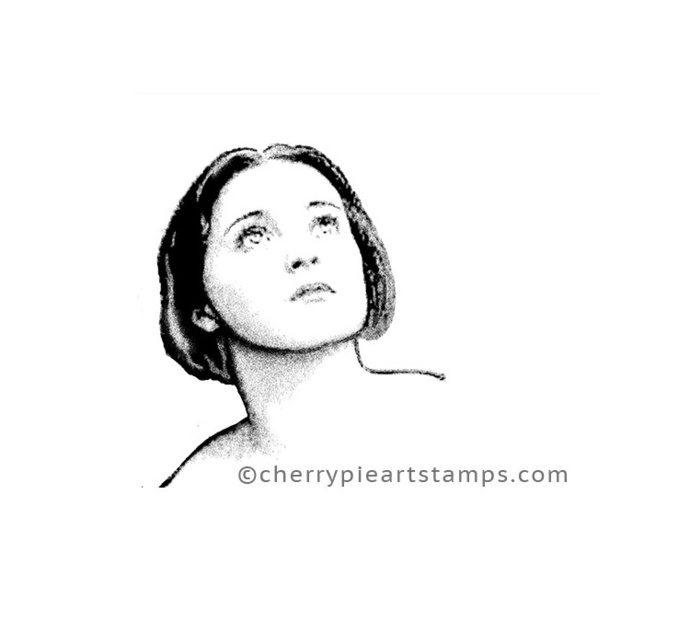 STARGAZER - woman face- CLiNG RuBBer STAMP by Cherry Pie Art Stamps P409