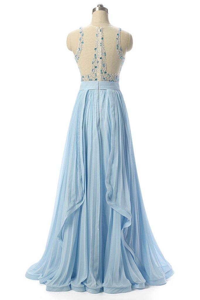 Light Blue Beading Elegant 2018 Prom Dresses,Prom Dresses,Formal Women