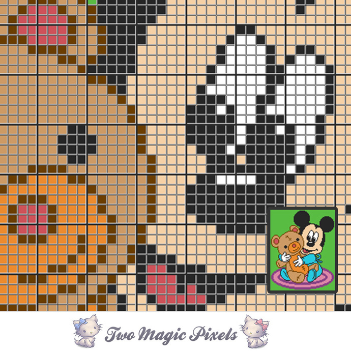 Mickey and Teddy crochet blanket pattern; c2c, cross stitch; graph; pdf