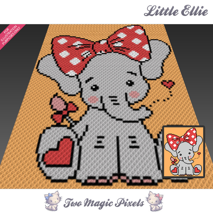 Little Ellie crochet blanket pattern; c2c, cross stitch; graph; pdf download; no