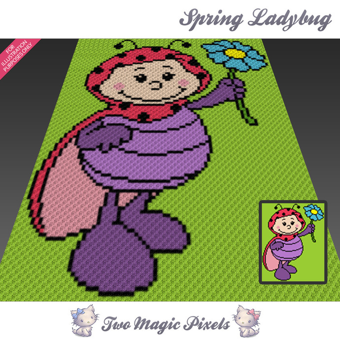 Spring Ladybug crochet blanket pattern; c2c, cross stitch; graph; pdf download;