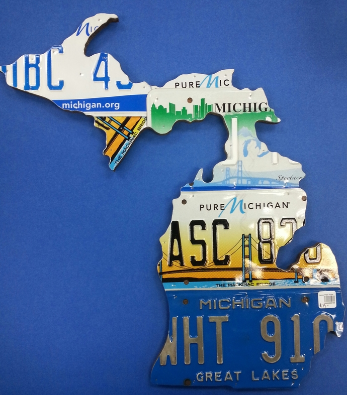 State of Michigan Recycled License Plate Map