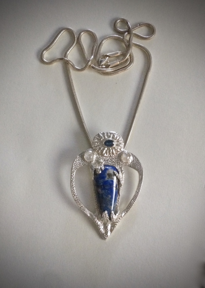 lapis necklace, denim lapis, silver necklace, lapis lazuli jewelry, rainbow