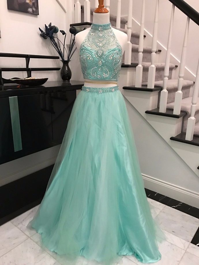 Sexy Prom Dress,Two Piece Prom Dresses,Evening Dress,Prom Dresses,Tulle Beading