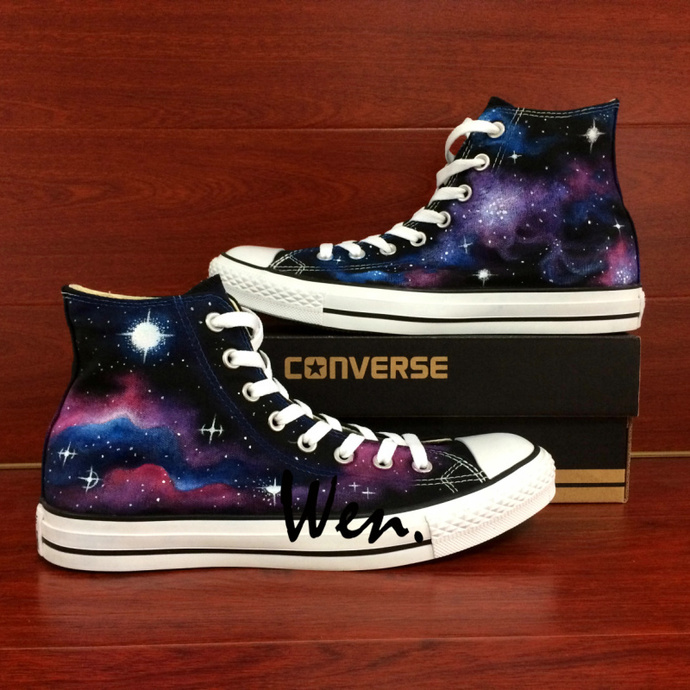 cf0d9ecf305aa1 Galaxy Hand Painted Shoes Original Design Nebula Space Painting Converse