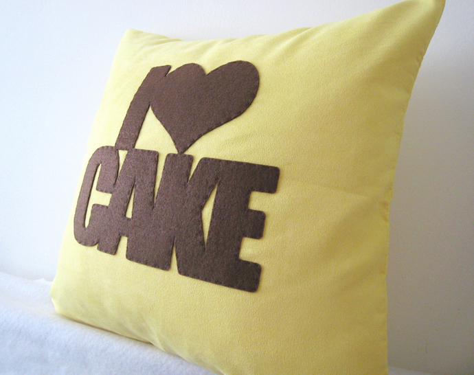 Custom Your Color. I Love Cake Typography Yellow And Brown Decorative Pillow