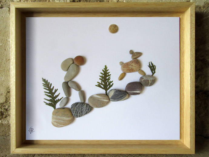 Pebble Art - Gift for Backpacker - Gift for Hiker - Animal Lover Gift - Pebble