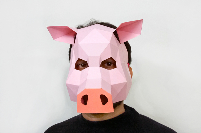 graphic regarding Printable Pig Mask known as Do-it-yourself Pig mask,Pig artwork,Celebration mask,lowpoly,3d papercraft,Do-it-yourself animal mask,Papercraft mask,PDF templates,Printable mask,Origami,Piggy mask,3d pig