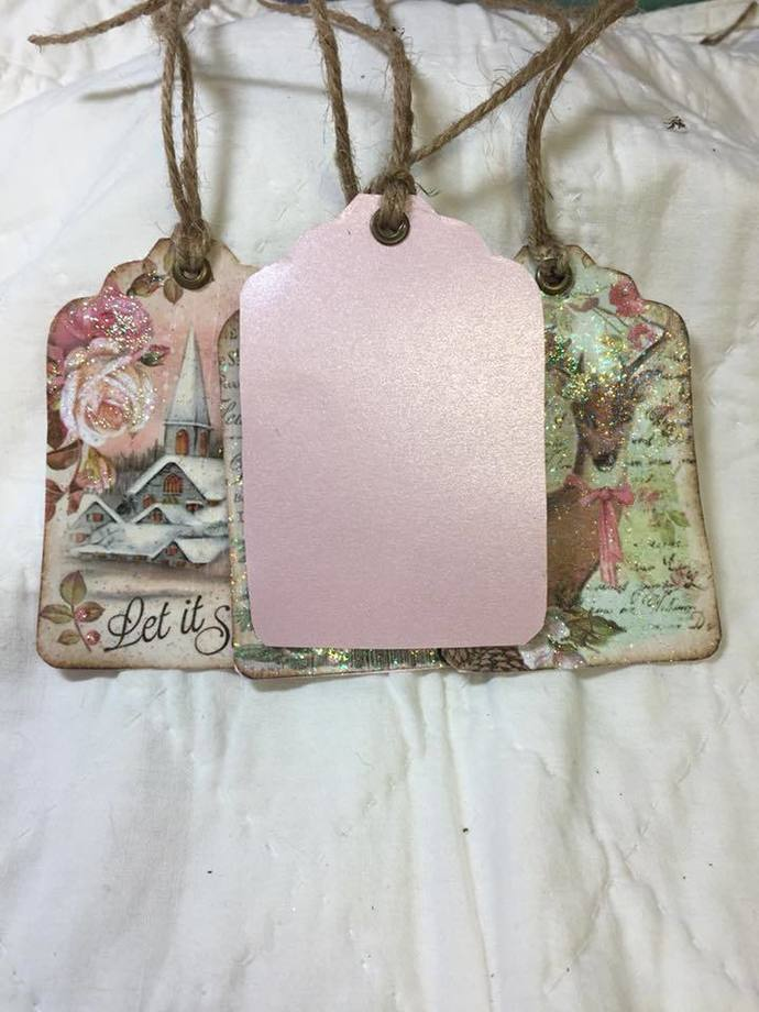 Shabby Chic Glitter Gift Tags