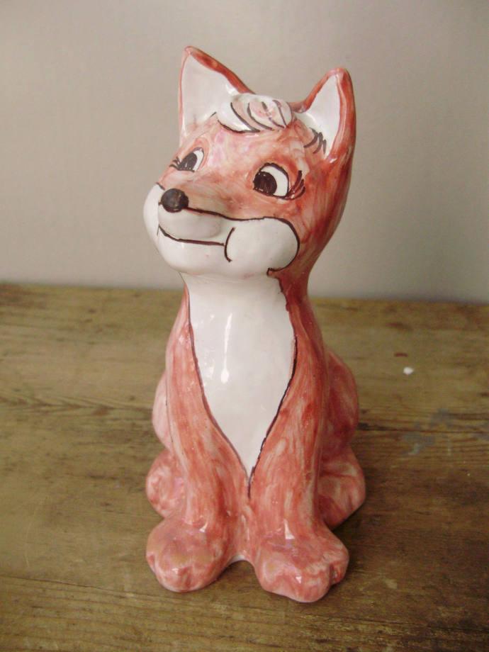 Rare,Hungarian ceramic fox figurine ,handpainted,signed,1980