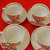 Vintage Russian porcelain teacups with saucers, red&black flowers,4 cup
