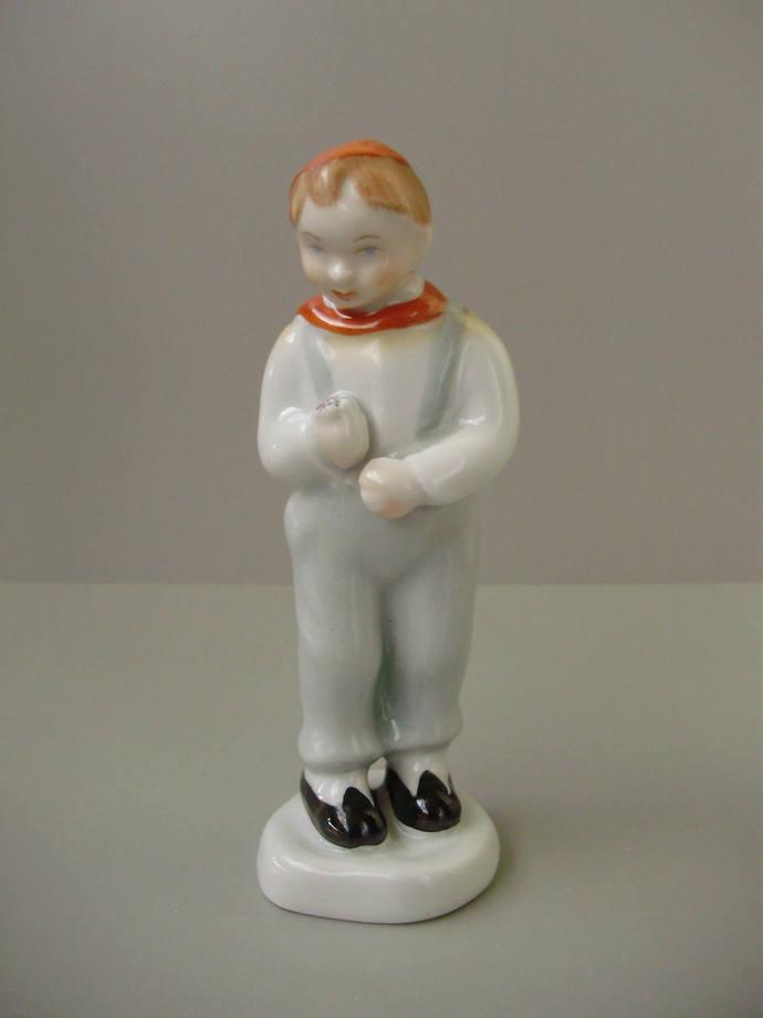 Vintage Aquincum porcelain boy figurine,Little boy with flower ,hand