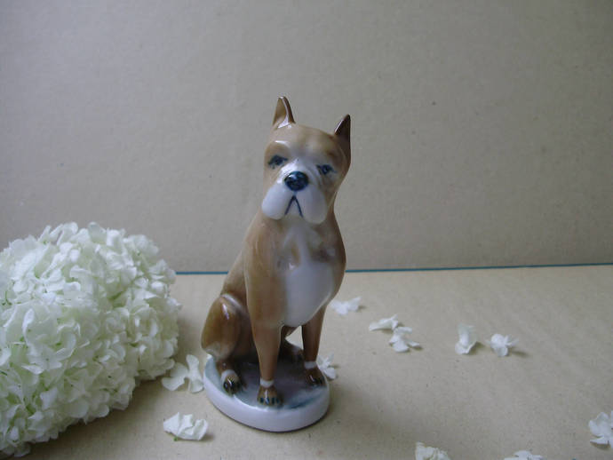 Vintage Hungarian Zsolnay porcelain stauette,figurine,dog/puppy,BOXER