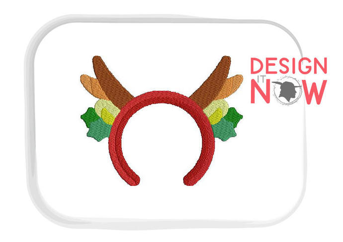 3 For 1 Christmas Deer Horns Antler Machine Embroidery Design - 5 Sizes