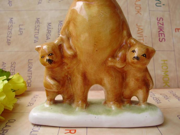 Large,Vintage  porcelain animalfigurine, LITTLE BEARS w.MOM,handpainted