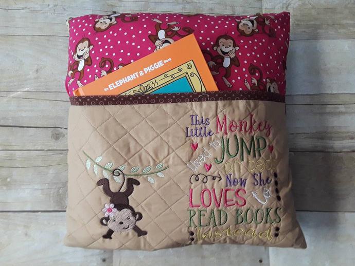 Reading Pillow, Book Pillow, Pocket Pillow, Reading Pillow for Girl, Gift for