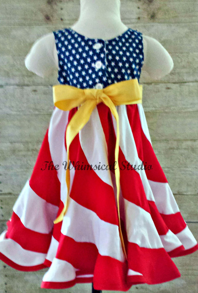 Red White & Blue Swirl Dress - Flag Swirl Dress - Patriotic Swirl Dress -